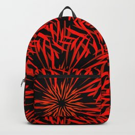 Pattern of kaleidoscopic ornaments of red and orange lines on a black background in vintage style. Backpack