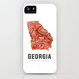Georgia - State Map Art - Abstract Map - Brown iPhone Case