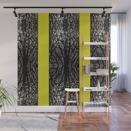 Gothic tree striped pattern mustard yellow Wall Mural