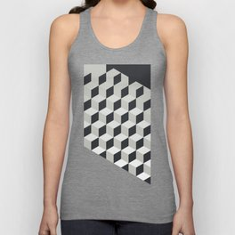 Gradient Cubes – Ebony Black / Warm Gray Abstract Print Unisex Tank Top
