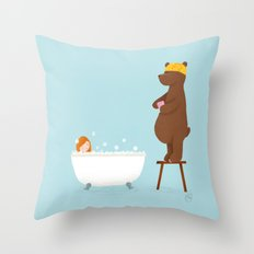 Bear and girl: bathing Throw Pillow