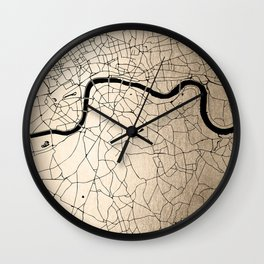 London Gold on Black Street Map II Wall Clock