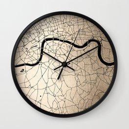 London Gold on Black Street Map II Wall Clock