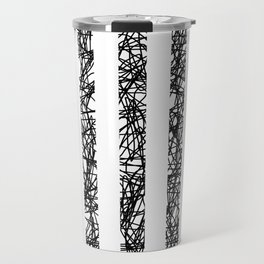 Scribble Bars - Abstract, stripy, stripey, black ink scribbles pattern, black and white Travel Mug