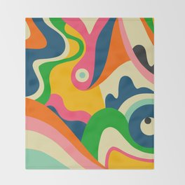 Colorful Mid Century Abstract  Throw Blanket