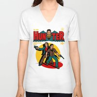 comic V-neck T-shirts featuring Hunter Comic by harebrained