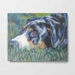 Greater Swiss Mountain Dog portrait art from an original painting by L.A.Shepard Metal Print