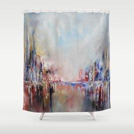 Spring urban landscape (OIL ON CANVAS) Shower Curtain