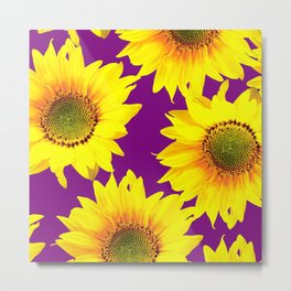 Sunflowers on a purple background - summer mood - #Society6 #buyart Metal Print
