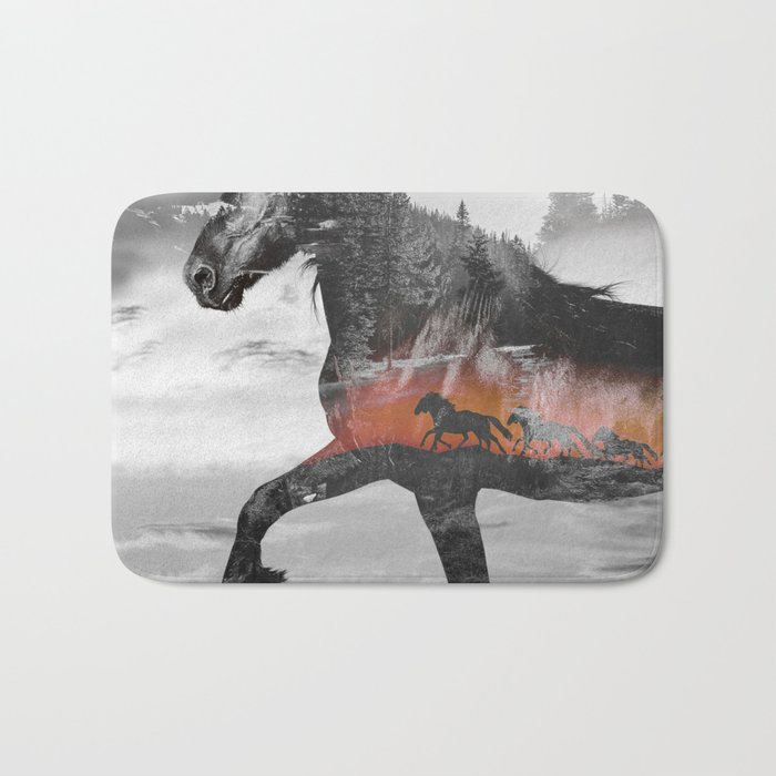 Black Horse Sunset Run Bath Mat
