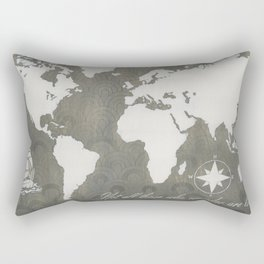 Not All Who Wander - World Map Rectangular Pillow