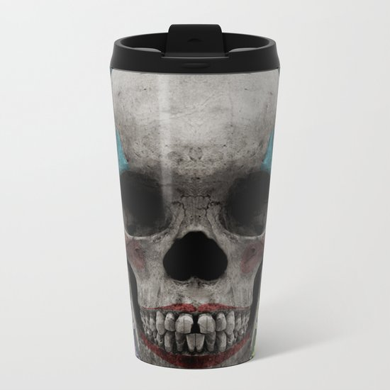 skull getting' ready for halloween but didn't quite succeed Metal Travel Mug