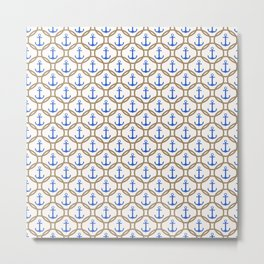 Seamless nautical pattern with blue anchors and rope on white background Metal Print