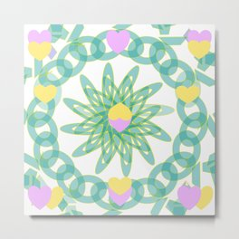 Tropical Pastel Hearts Metal Print