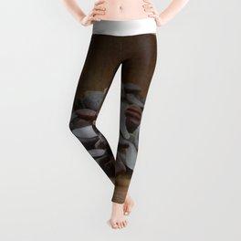 Brown and White Sea Glass Leggings