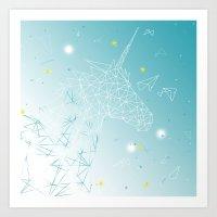 unicorn Art Prints featuring UNICORN by ARCHIGRAF