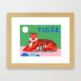 Wacka Kidz Tiger - memphis retro 80's style animal tiger art print Framed Art Print