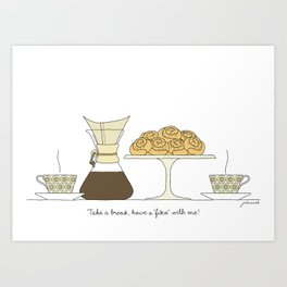 have a fika with me Art Print