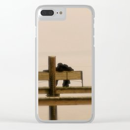 Cuddling Couple Sitting on Pier Clear iPhone Case
