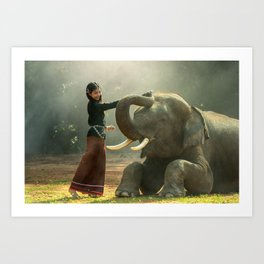 Cambodian girl and her elephant Art Print