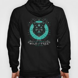 Wild & Free Wolf – Turquoise & Grey Hoody
