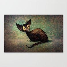 Black Oriental Cat Canvas Print