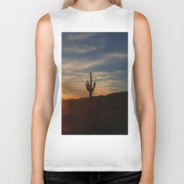 Cactus and Desert at Dusk Biker Tank