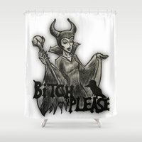 bitch Shower Curtains featuring BITCH PLEASE by Ana Guillén Fernández