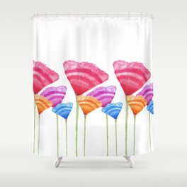 Abstract Hand Painted Colorful Long Stem Flowers Shower Curtain