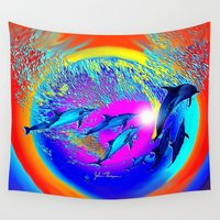 dolphins Wall Tapestries featuring Dolphins 2 by JT Digital Art