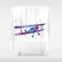 plane Shower Curtains featuring Little Plane by Watercolorist