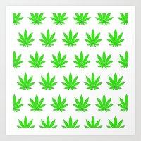 marijuana Art Prints featuring Marijuana Leaves by Mobii