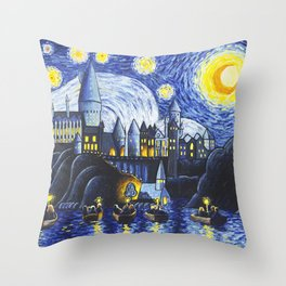 Starry Night At Hogwarts Throw Pillow