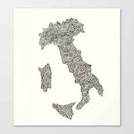 Lettering map of Italy Canvas Print