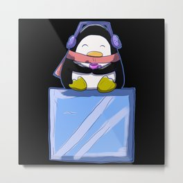 Cute Penguin On Block Of Ice At The South Pole Metal Print