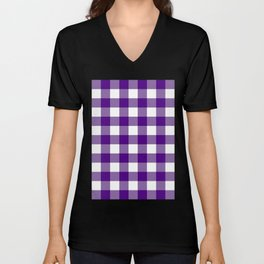 Gingham (Indigo/White) Unisex V-Neck
