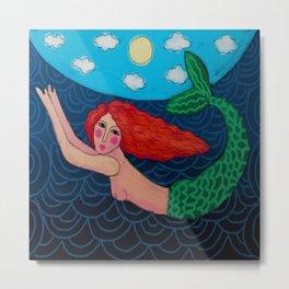 Red Haired Mermaid Abstract Digital Painting Metal Print