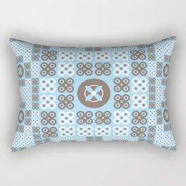 Turquoise Floral Pattern Rectangular Pillow