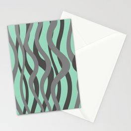 waves grey green background Stationery Cards