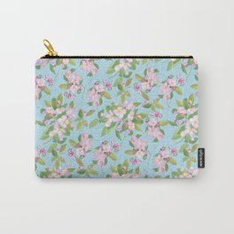 Pink Apple Blossom on Sky Blue Leafy Background Carry-All Pouch