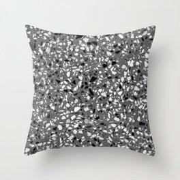 Dark Grey Monochrome Speckles Terrazzo Pattern Stone Effect Throw Pillow