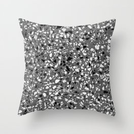 Dark Grey Monochrome Speckles Terrazzo Pattern Stone Effect Throw Pillow