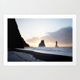 Gold and dark - Iceland   landscape - photography - print - travel - reynisfjara - sunrise - nature Art Print