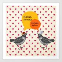 bonjour Art Prints featuring Bonjour! by Sreetama Ray