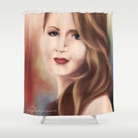 jennifer lawrence Shower Curtains featuring Jennifer by Alanna791