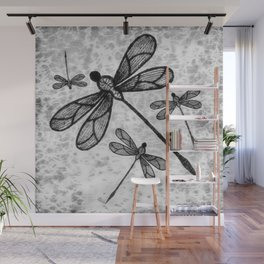 Bold black and white embroidered dragonflies on texture Wall Mural
