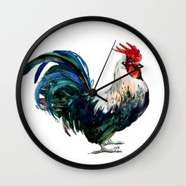 Rooster Decor, Beautiful Rooster French country style design artwork, kitchen Wall Clock