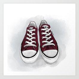 maroon converse all-stars Art Print