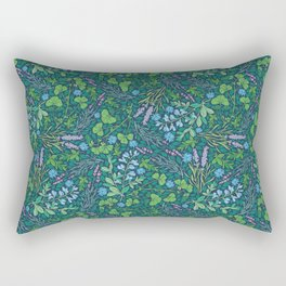 Lavender and lupine with cornflowers on herbal background Rectangular Pillow