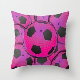Pink Black Soccer Balls Throw Pillow